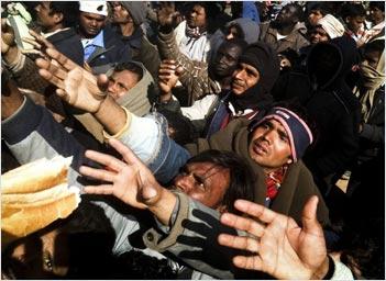 Libyan refugees at Tunisian border