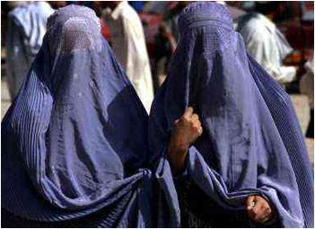 Burqa-clad women