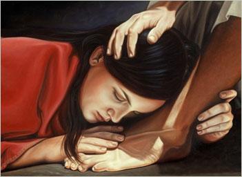 At Jesus' feet